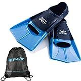 Aqua Speed Kurze Trainingsflossen I für Teenager Erwachsene I weiche Schwimmflossen I leichte Kurzflossen I Blaue Flossen Training I Schwimmen I + Ultrapower Rucksack I blauIhellblauI02; Gr. 37I38