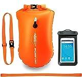 LimitlessXme Schwimmboje & Trockensack — 25l Orange. Sicherheit beim Schwimmen, Open Water und Triathlon. Swimming Buoy, Swim Bubble, Schwimm Boj aufblasbar