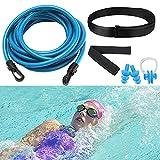 Schwimmgurt Für Pool Erwachsene , Einstellbare schwimmtrainer Pool Schwimmgürtel , 4m Pool schwimmgurt gegenschwimm , für pooltrainer/Kinder/Erwachsene(Inklusive ohrstöpsel und nasenklammer)
