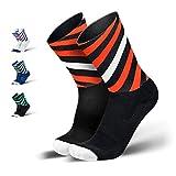 INCYLENCE Curls Sportsocken lang, leichte Running Socks mit Anti-Blasenschutz, atmungsaktive Laufsocken, Compression Socks, schwarz rot weiß, 43-46