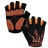 Fahrradhandschuhe Herren Damen Halbfinger Atmungsaktiv Radsporthandschuhe,5MM SBR Gel Stoßdämpfende Rutschfestes Radhandschuhe Mountainbike Handschuhe Outdoor MTB Handschuhe-Orange-M